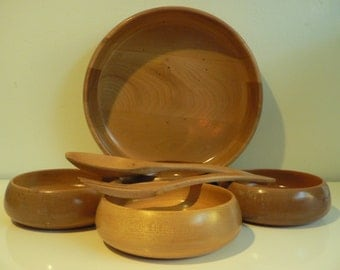 mid century blond wood salad bowl set spoon fork/ vintage danish modern woodware set