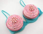 Fake Cupcakes with Peppermint Candy Set of 2 Jumbo Cupcakes For Your Halloween Costume Bra NOT Included