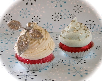 """Fake Cupcakes """"1940's Hollywood Glam Cupcake Collection"""" Christmas Ornaments 2 Mini Cupcakes Can Be Magnets for Slight Fee"""