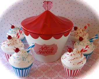 "Fake Cupcake Retro Inspired Set of (4) ""Big Top Birthday Collection"" Red, White & Blue Striped Fab Birthday Party Decor"