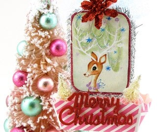 Vintage Christmas Card Reindeer Ornament with Mini Bottle Brush Trees, Poinsettia and Merry Christmas Sign Fab Holiday Gift