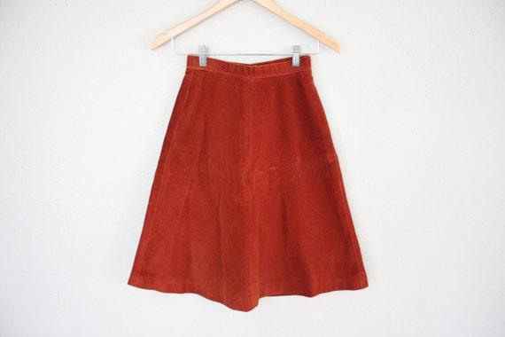 Vintage Skirt Flared Corduroy Skirt Vintage Short Skirt 1970s Retro Skirt in Burnt Sienna