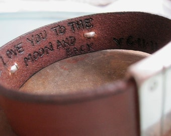 Hidden Message Personalized Mens Leather Bracelet - Leather and Aluminum - CUSTOM