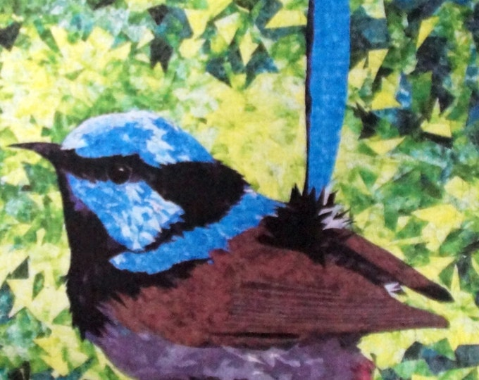 Fabric panel.  Blue Wren.  Original quilt by Cindy Watkins