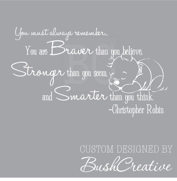 Winnie the Pooh Quote Wall Decal Christopher Robin Nursery Quote 041
