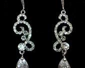 SALE - Bridal Earrings, Knot Earrings, Swirl Earrings, Cubic Zirconia Teardrop, Swarovski Wedding Jewelry, NUPTIAL