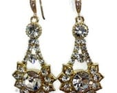 Gold Bridal Earrings, Art Deco Jewelry, Geometric Earrings, Bridesmaids Jewelry, RAYS