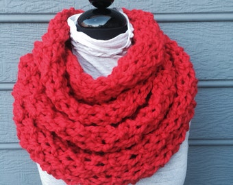 Chunky Red Knit Scarf - Red Scarf - Huge Scarf - Infinity Scarf - Knit Cowl