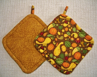 Fall Pot Holders, Set of 2, Hot Pads, Trivets, Insulated Potholders, Potholders, Autumn Hot Pads, Brown Potholders, Made in America