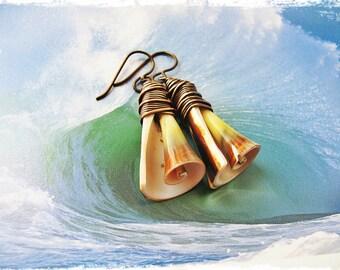 Seashell and Copper Surfer Girl Earrings