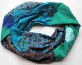 Infinity scarf: women's silk cotton circle, Valentine's Day, fashion blue teal green purple brown black red hearts Bohemian Lhasa i359
