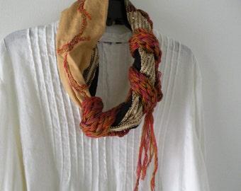 Crochet scarf, women's long woven silk fashion multicolor knit fiber art, cotton wool brown gold black tan purple pink applique Lhasa i638