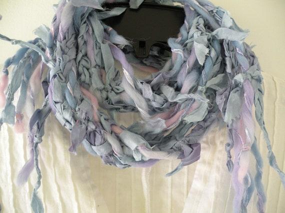 Crochet scarf, women's long silk multicolor fashion knit, purple blue pink lavender soft wool Amiens freeform fiber art soft fuzzy  i481
