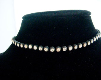 "11-14"" Rhinestone Choker Black Metal Vintage Antique"