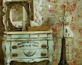 Shabby French Country Marble Top Bombe Chest  Doll House Miniature