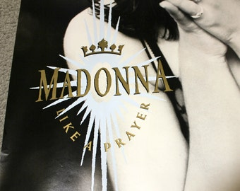 Madonna Poster Like a Prayer, 1989 Sire Records Original Promo, Vintage Music Advertising