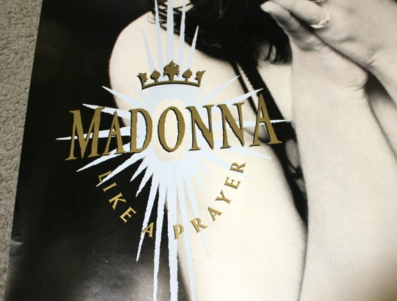1989 Madonna Poster Like a Prayer, Sire Records Original Promo, Vintage Music Advertising