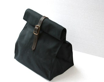 Black Waxed Canvas Lunch Bag