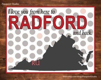 INSTANT PRINTABLE I Love You From Here To Radford And Back - Radford University Highlanders