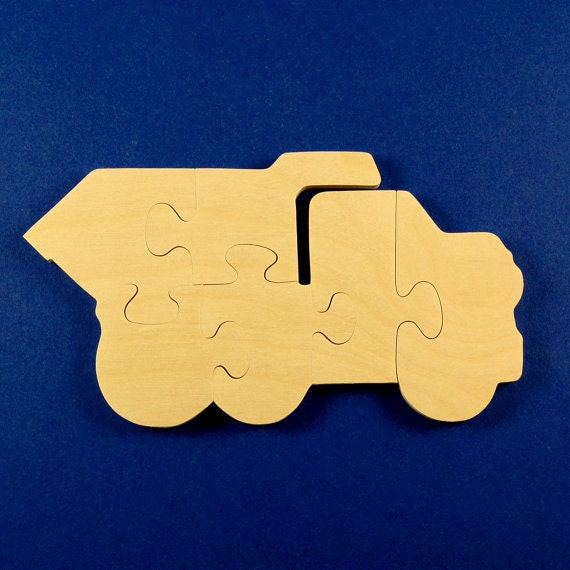 Dump Truck Party Favors - Package of 10 Wooden Dumptruck Puzzles - Chilrens Wood Puzzle - Great for Kids and Toddlers birthday Party