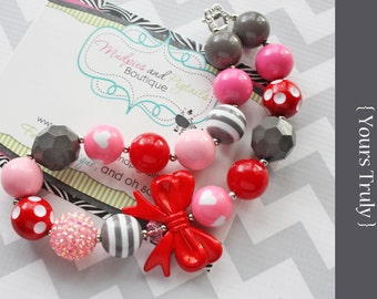 Ready to ship Chunky necklace, { Yours Truly } gray, pink, red, white, Valentine's Day, Birthday, Cake smash, Heart photography prop