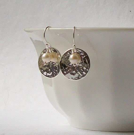 Silver Disk Freshwater Pearl Dangle Earrings
