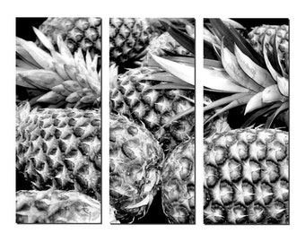 Black & White Pineapples Canvas Triptych, 3 Panel Art, LARGE, Ready to Hang
