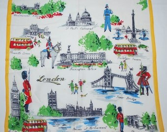 Vintage London England Souvenir Handkerchief