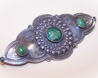 1930s Native American/Southwest Indian STERLING SILVER & Turquoise Pin