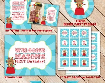 Circus Birthday Party Decoration - Printable Circus Party Package - Circus Invitation - Birthday Banner - Cupcake Toppers - Favor Tags
