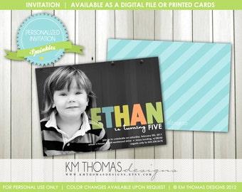 Sprinkles Birthday Invitation: Photo Invitation - Custom Colors - 1st Birthday Invitation - Boys Party - Printable - Digital - #102
