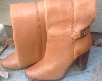 Sale // 80s Tall HIGH HEEL BOOTS Tan Vintage Leather 5 M   /  Modmarge