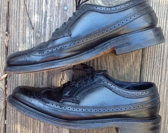 STAFFORD LONG WINGS Black Leather Wingtips Men's Shoes Leather  8  D unisex