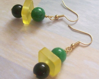 JAMAICA Dangle Earrings Inspired by National Flags - Caribbean Islands