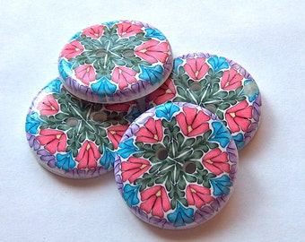 Large Buttons Kaleidoscope Floral Pattern No.205