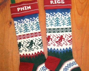 Personalized Christmas Stocking,  skier and snowy mountains