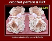 BABY BOOTIES - Crochet PATTERNs - Baby Christening Shoes,  Baby Shoes,  Dress Shoes,  number 531, sizes newborn to 1 year