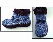 Crochet PATTERN - Unisex Short Boot Style Slippers, men, women,  Adult S (size 5) to XLarge (size 13), num. 604