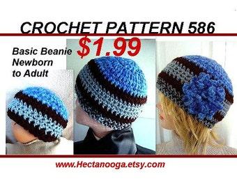 Hat Crochet Pattern - Basic Beanie Hat - baby, adult, men, man, women, children, boys, girls,  flower, crochet hat, hat pattern,  num 586