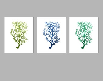 Coral Botanical Art Trio - Set of Three 8x10 Coordinating Silhouette Prints - Coral Red, Ocean Blue, Mossy Green, Turquoise, Emerald, Brown