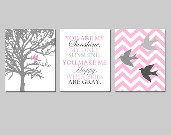 Bird Family Nursery Art Trio - Chevron Birds, You Are My Sunshine, Three Birds in a Tree - Set of Three 11x14 Prints - CHOOSE YOUR COLORS