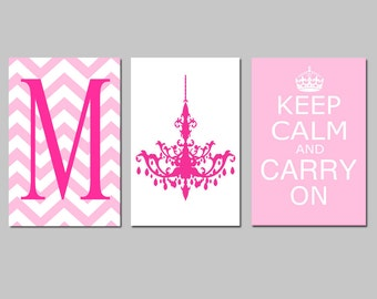 Keep Calm and Carry On, Chevron Monogram Initial, Chandelier Trio - Set of Three 13x19 Prints - Girl Wall Art - CHOOSE YOUR COLORS