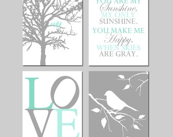 Mint Green Gray Nursery Art - Set of Four 11x14 Prints - Birds in a Tree, You Are My Sunshine, Love, Bird on a Branch - CHOOSE YOUR COLORS