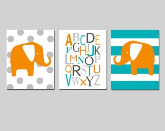 Elephant Nursery Art Trio - Set of Three 11x14 Prints - Polka Dot Elephant, Alphabet, Striped Elephant - Kids Wall Art - CHOOSE YOUR COLORS