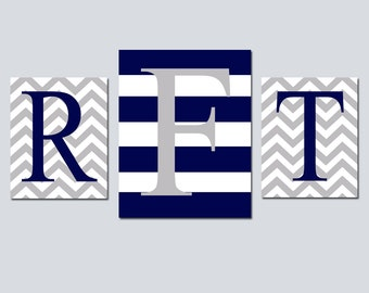 Chevron Stripe Monogram Trio - Set of Three Nursery Kids Prints - 8x10 and 11x14 - Choose Your Colors - Shown in Navy Blue and Pale Gray