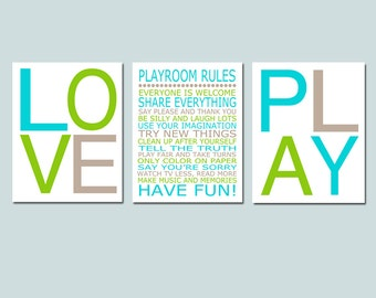 Playroom Rules, Love, Play - Set of Three 8x10 Typography Prints - Kids Wall Art for Nursery - CHOOSE YOUR COLORS