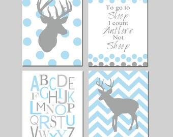 Baby Boy Nursery Art - Polka Dot Chevron Deer - To Go To Sleep I Count Antlers Not Sheep Quote - Alphabet - Set of Four 8x10 Prints