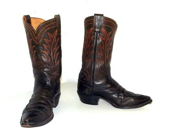 Vintage Hyer brand brown leather Cowboy boots size 9 d or cowgirl size 10.5