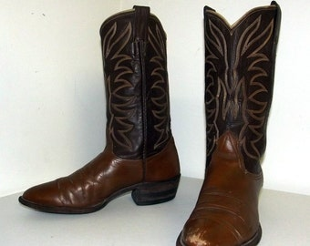 Two tone Brown Cowboy Boots - Nocona brand - size 9 D or cowgirl size 10.5
