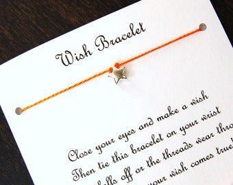 Sweet Little Star - Wish Bracelet - Shown In ORANGE JUICE - Over 100 Different Colors Are Also Available